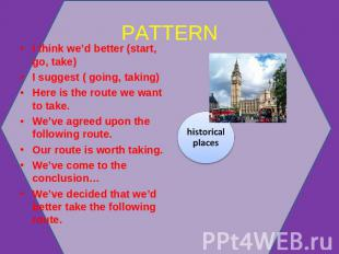 PATTERN I think we'd better (start, go, take)I suggest ( going, taking)Here is t