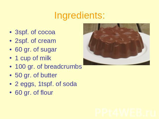 Ingredients: 3spf. of cocoa2spf. of cream60 gr. of sugar 1 cup of milk100 gr. of breadcrumbs50 gr. of butter2 eggs, 1tspf. of soda60 gr. of flour