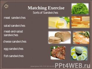 Matching Exercise meat sandwiches salad sandwiches meat-and-salad sandwiches che