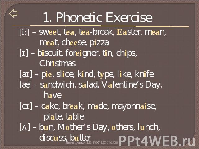 1. Phonetic Exercise [i:] – sweet, tea, tea-break, Easter, mean, meat, cheese, pizza[ɪ] – biscuit, foreigner, tin, chips, Christmas[aɪ] – pie, slice, kind, type, like, knife[æ] – sandwich, salad, Valentine's Day, have[eɪ] – cake, break, made, mayonn…