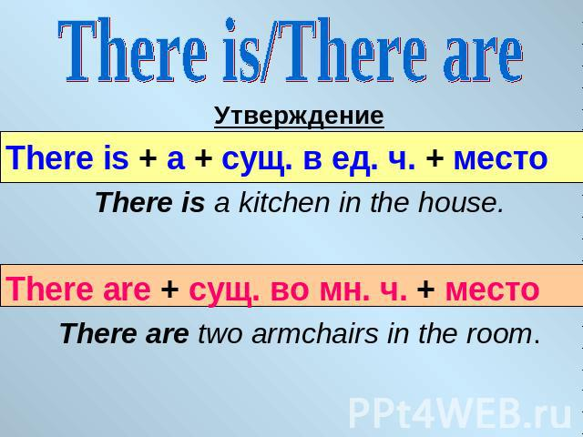 There is/There are УтверждениеThere is + a + сущ. в ед. ч. + место There is a kitchen in the house.There are + сущ. во мн. ч. + местоThere are two armchairs in the room.