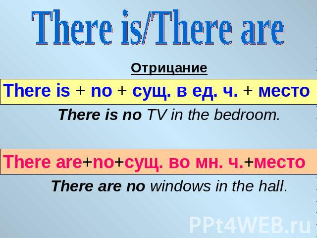 There is/There are ОтрицаниеThere is + no + сущ. в ед. ч. + место There is no TV in the bedroom.There are+no+сущ. во мн. ч.+местоThere are no windows in the hall.