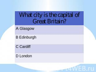What city is the capital of Great Britain?