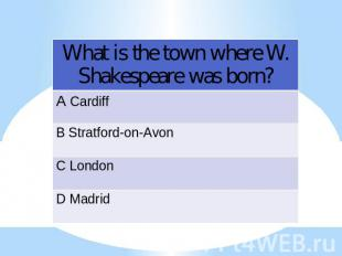 What is the town where W. Shakespeare was born?