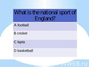 What is the national sport of England?
