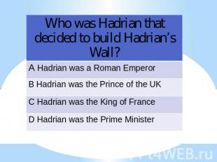 Who was Hadrian that decided to build Hadrian's Wall?