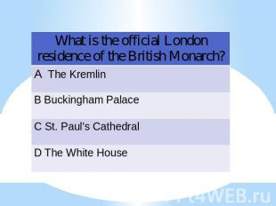 What is the official London residence of the British Monarch?
