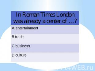 In Roman Times London was already a center of …?