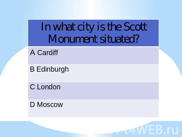 In what city is the Scott Monument situated?