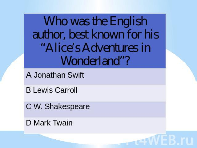 "Who was the English author, best known for his ""Alice's Adventures in Wonderland""?"