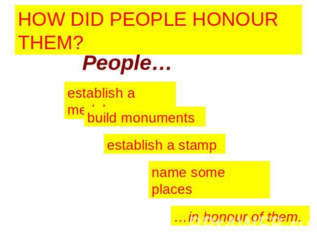 HOW DID PEOPLE HONOUR THEM? People… establish a medal build monuments establish a stamp name some places …in honour of them.