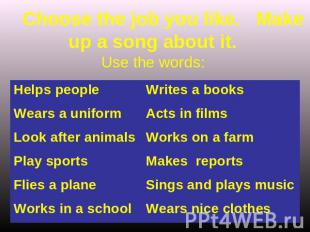 Choose the job you like. Make up a song about it. Use the words: