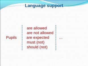 Language support are allowed are not allowedPupils are expected… must (not) shou