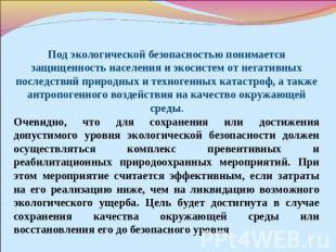 Доклад на тему экологическая безопасность россии 4546