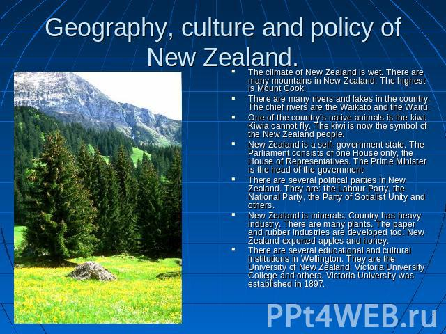 the geography of new zealand An overview of new zealand featuring information on the island country's history, government, industry, geography, climate, and biodiversity.