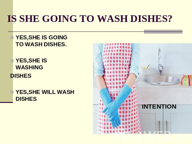 IS SHE GOING TO WASH DISHES? YES,SHE IS GOING TO WASH DISHES.YES,SHE IS WASHINGDISHESYES,SHE WILL WASH DISHES
