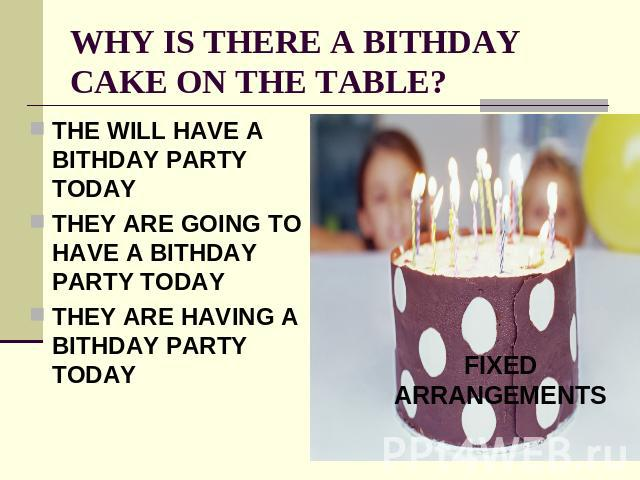 WHY IS THERE A BITHDAY CAKE ON THE TABLE? THE WILL HAVE A BITHDAY PARTY TODAYTHEY ARE GOING TO HAVE A BITHDAY PARTY TODAYTHEY ARE HAVING A BITHDAY PARTY TODAYFIXED ARRANGEMENTS