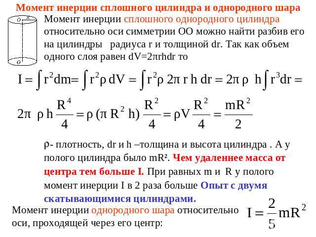 Глауные мрмениы инерции однородного шара