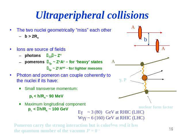 "Ultraperipheral collisions The two nuclei geometrically ""miss"" each other b > 2RA Ions are source of fields photons sgg ~ Z4 pomerons sgp ~ Z2A2 – for 'heavy' states sgp ~ Z2A5/3 - for lighter mesons Photon and pomeron can couple coherently to the n…"
