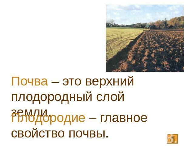 плодородие главное свойство почв