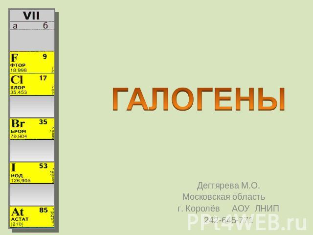 Реферат на тему галогены химия 7732