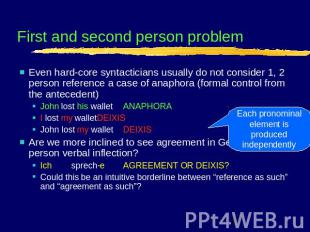 First and second person problem Even hard-core syntacticians usually do not cons