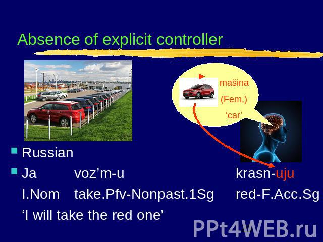 Absence of explicit controller RussianJavoz'm-ukrasn-ujuI.Nomtake.Pfv-Nonpast.1Sgred-F.Acc.Sg'I will take the red one'