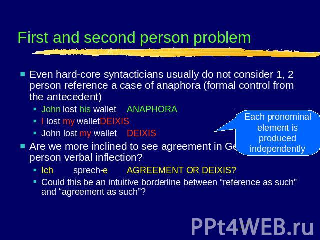 First and second person problem Even hard-core syntacticians usually do not consider 1, 2 person reference a case of anaphora (formal control from the antecedent)John lost his walletANAPHORAI lost my walletDEIXISJohn lost my walletDEIXISAre we more …