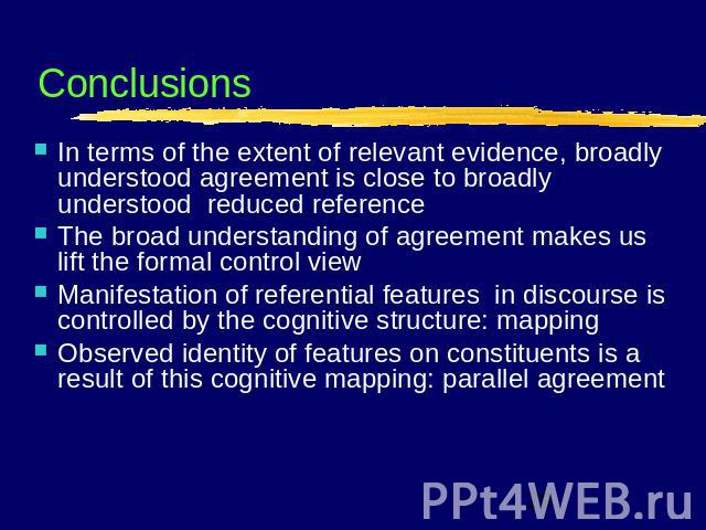 Conclusions In terms of the extent of relevant evidence, broadly understood agreement is close to broadly understood reduced referenceThe broad understanding of agreement makes us lift the formal control viewManifestation of referential features in …