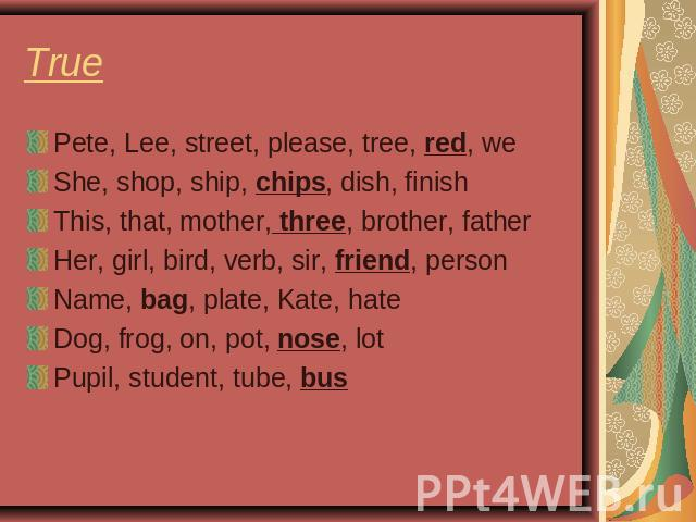 True Pete, Lee, street, please, tree, red, weShe, shop, ship, chips, dish, finishThis, that, mother, three, brother, fatherHer, girl, bird, verb, sir, friend, personName, bag, plate, Kate, hateDog, frog, on, pot, nose, lotPupil, student, tube, bus