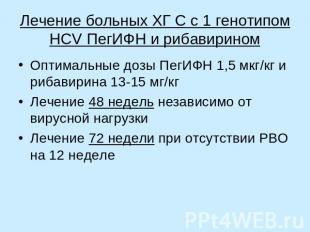Лечение больных ХГ С с 1 генотипом HCV ПегИФН и рибавирином Оптимальные дозы Пег