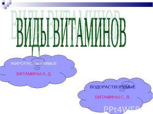 Витамины класс презентация к уроку Окружающий мир слайда 4 ВИДЫ ВИТАМИНОВ ЖИРОРАСТВОРИМЫЕВИТАМИНЫ А Д ВОДОРАСТВОРИМЫЕВИТАМИНЫ С В