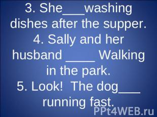 3. She___washing dishes after the supper.4. Sally and her husband ____ Walking i