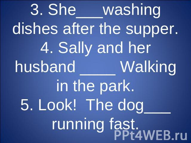 3. She___washing dishes after the supper.4. Sally and her husband ____ Walking in the park.5. Look! The dog___ running fast.
