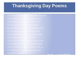 Thanksgiving Day Poems T is for the trust the pilgrims had so many years ago H i