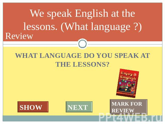 Ann gets good marks every day. (How often?) WHAT LANGUAGE DO YOU SPEAK AT THE LESSONS?
