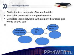 Reading activities Divide the text into parts. Give each a title. Find the sente