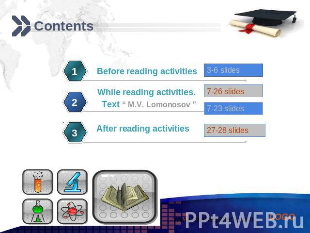Contents Before reading activities