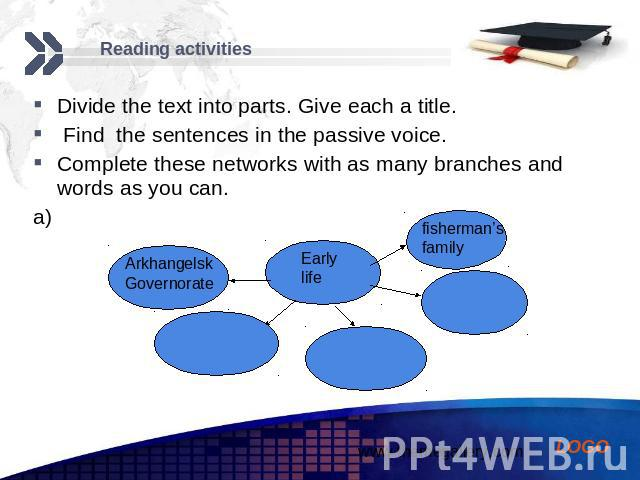 Reading activities Divide the text into parts. Give each a title. Find the sentences in the passive voice. Complete these networks with as many branches and words as you can. a)