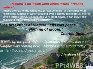 """It calls up the past. When Columbus first saw this continent Niagara was roarin"