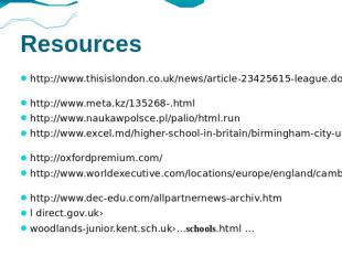 Resources http://www.thisislondon.co.uk/news/article-23425615-league.do http://w