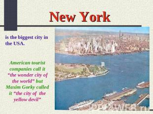 "New York is the biggest city in the USA. American tourist companies call it ""the"