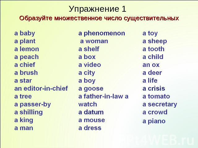 Упражнение 1 Образуйте множественное число существительных a baby a plant a lemon a peach a chief a brush a star an editor-in-chief a tree a passer-by a shilling a king a man a phenomenon a woman a shelf a box a video a city a boy a goose a father-i…