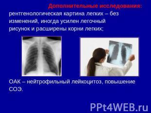 Дополнительные исследования:рентгенологическая картина легких – безизменений, ин