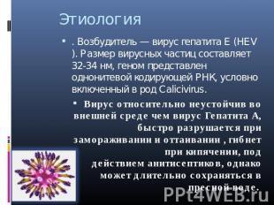 Этиология . Возбудитель—вирус гепатита Е(HEV). Размер вирусных частиц составл