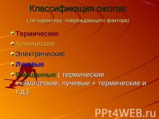 Классификация ожогов: ( по характеру повреждающего фактора) ТермическиеХимически