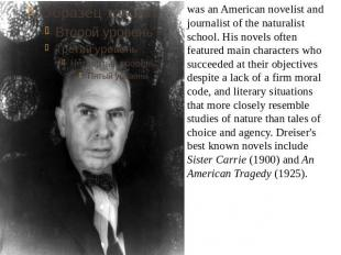was an American novelist and journalist of the naturalist school. His novels oft