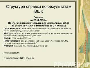 Презентация на тему Система организации внутришкольного контроля  слайда 10 Структура справки по результатам ВШК Справка от 27 11 2010 г По итогам проверки