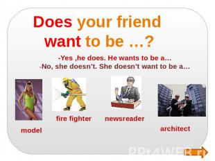 Does your friend want to be …? -Yes ,he does. He wants to be a… -No, she doesn't