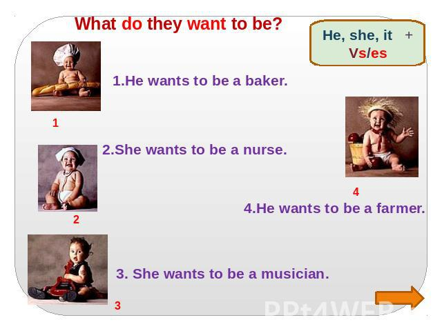 What do they want to be? 1.He wants to be a baker. 2.She wants to be a nurse. 3. She wants to be a musician. 4.He wants to be a farmer.